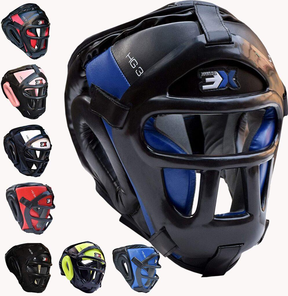 cascos de boxeo con pantalla o rejilla